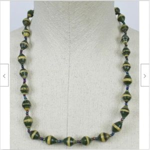 Green Tan Striped Beaded Necklace Jewelry